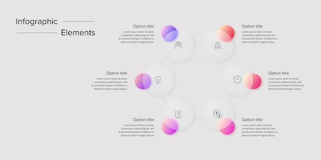 Bedrijfsprocesgrafiek infographics met 6 stapcirkels circulaire zakelijke workflow grafische elementen bedrijfsstroomdiagram presentatie dia Premium Vector