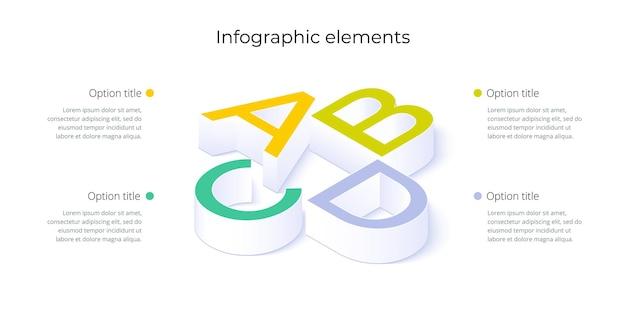 Bedrijfsprocesgrafiekinfographics met 4 stapopties vierkante grafische bedrijfsworkflow