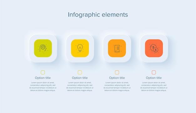 Bedrijfsprocesgrafiekinfographics met 4 stappen in neumorfismeontwerp vierkante bedrijfsworkflow
