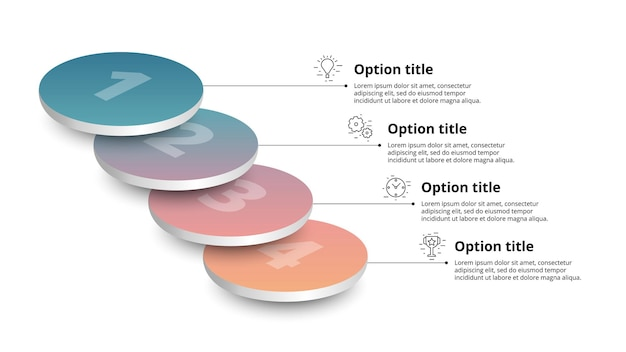 Bedrijfsprocesgrafiekinfographics met 4 stapsegmenten circulaire bedrijfstijdlijninfograph elem