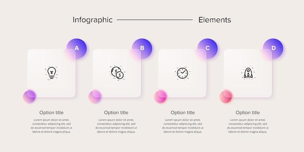 Bedrijfsprocesgrafiekinfographics met 4 stapvierkanten. rechthoekige zakelijke workflow grafische elementen. bedrijfsstroomdiagram presentatie dia. vector info afbeelding in glasmorfisme ontwerp.