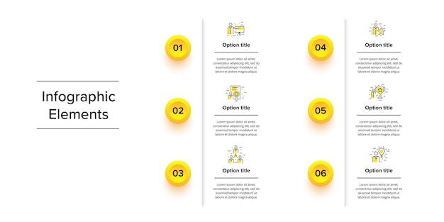 Bedrijfsprocesgrafiekinfographics met 6 stapcirkels