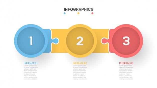 Bedrijfsprocestijdlijn infographics met 3 stappen.
