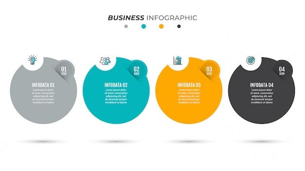 Bedrijfsprocestijdlijn infographics met 4 stappen.