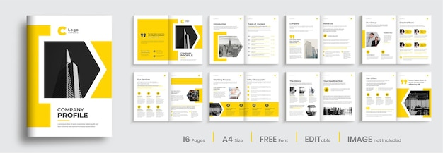 Bedrijfsprofiel brochure sjabloon lay-out ontwerp minimale professionele brochure ontwerpsjabloon