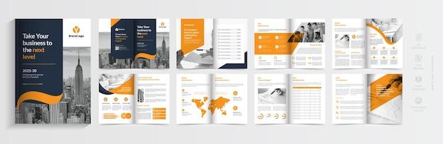 Bedrijfsprofiel brochure sjabloon lay-out ontwerp oranje kleur vorm zakelijke brochure sjabloon