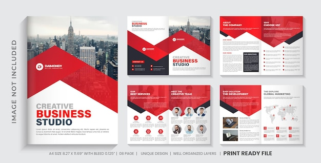 Bedrijfsprofiel brochure sjabloon of rode kleur brochureontwerp met meerdere pagina'spage