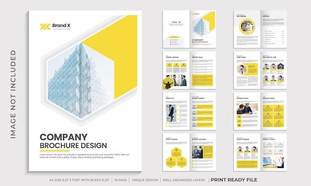 Bedrijfsprofiel brochure sjabloonontwerp, brochureontwerp met meerdere pagina's