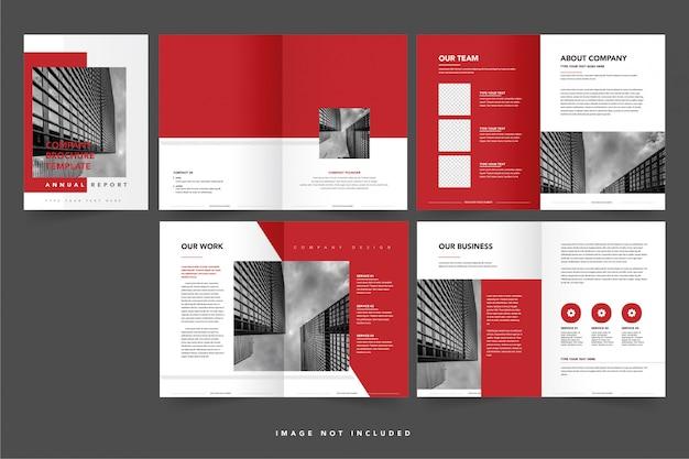 Bedrijfsprofiel of boekjesjabloon met interieurpagina's en omslag