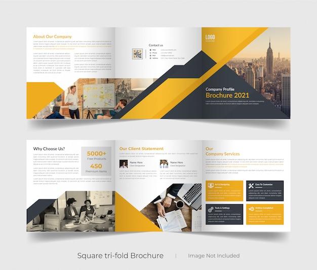 Bedrijfsprofiel vierkant tri-fold brochure sjabloon