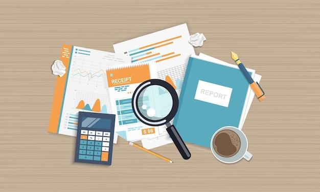 Bedrijfsrapport illustratie, bovenaanzicht