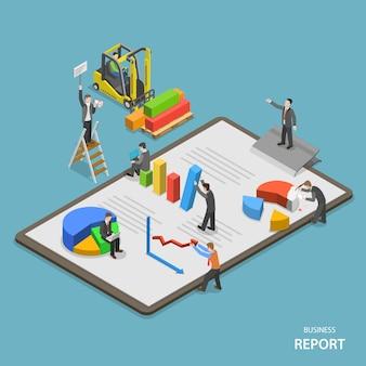 Bedrijfsrapport isometrische platte vector concept.