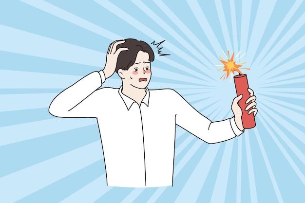 Bedrijfsrisico's, uitdaging, stressconcept. jonge gestresste gefrustreerde zakenman die zich zorgen maakt over een dreigende explosie vectorillustratie