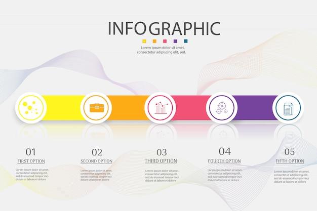 Bedrijfssjabloon 5 opties of stappen infographic grafiekelement.