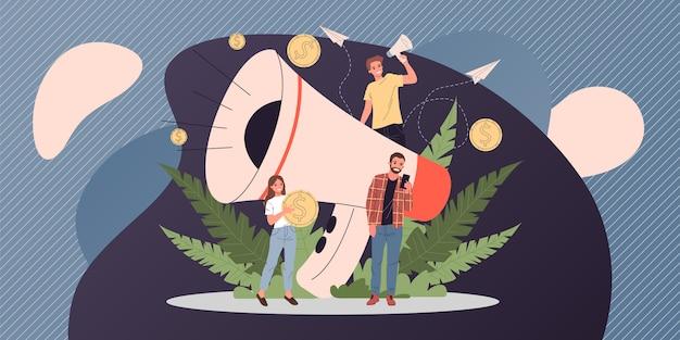 Bedrijfsspreker die op megafoonillustratie schreeuwen