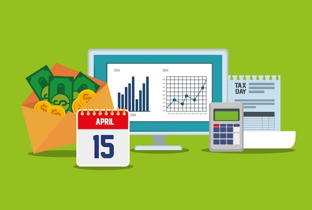 Bedrijfsstatistiekenbalk met datafoon en factuur