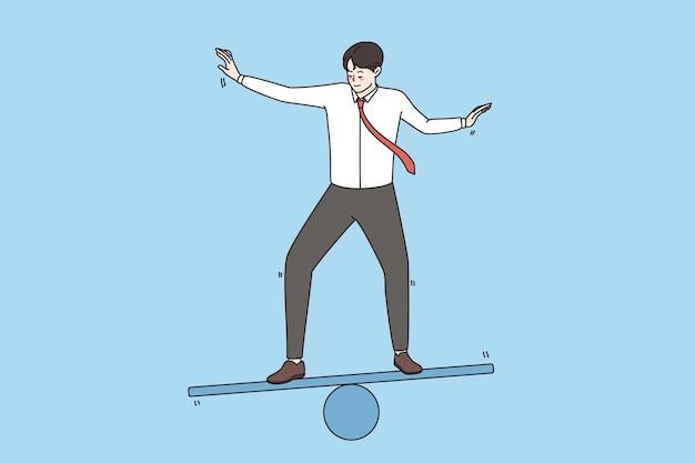 Bedrijfsstrategie en ontwikkelingsconcept. jonge glimlachende zakenman die zich op skate bevindt en probeert in evenwicht te blijven met harmonie in het achterhoofd vectorillustratie