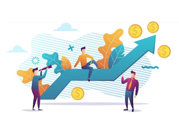 Bedrijfsstrategie, financiële analyse. winst stijgt. verkoopgroei, verkoopmanager, boekhouding, verkoopbevordering en activiteiten. illustratie