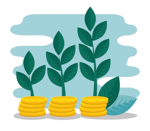 Bedrijfsstrategie met munten geld en planten