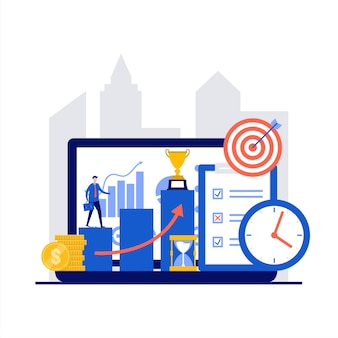Bedrijfsstrategie met zakenman die economiedoelstellingen bereikt en collectieve ladder in vlak ontwerp beklimt