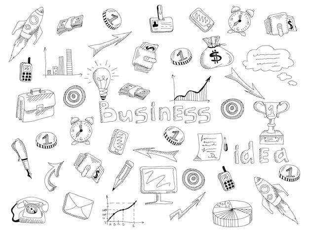 Bedrijfsstrategie pictogrammen schetsen schets