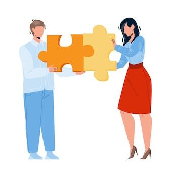 Bedrijfsstrategie planning ondernemers vector. bedrijfsstrategieplan bespreken en analyseren van jonge zakenman en zakenvrouw. tekens met puzzelstukjes platte cartoon afbeelding