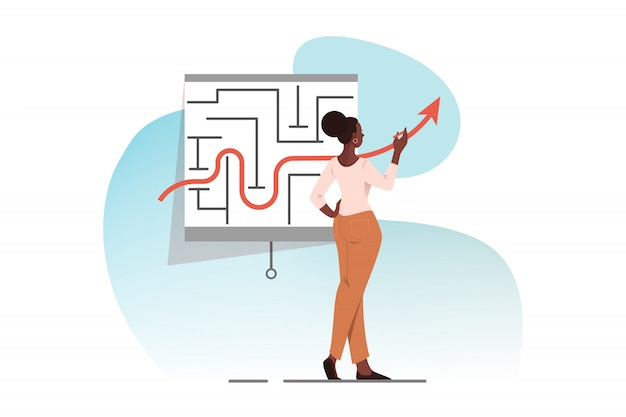Bedrijfsstrategie, tactiek, oplossing, probleem, succesconcept