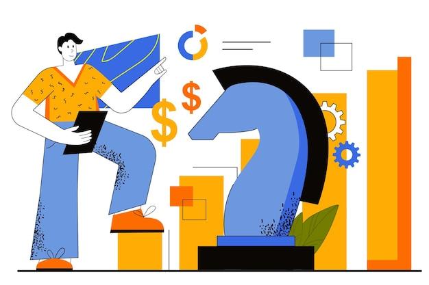 Bedrijfsstrategie webconcept. zakenman plant werk, ontwikkelt zijn project. prestatiedoelen, financiële analyses, winstgroei.