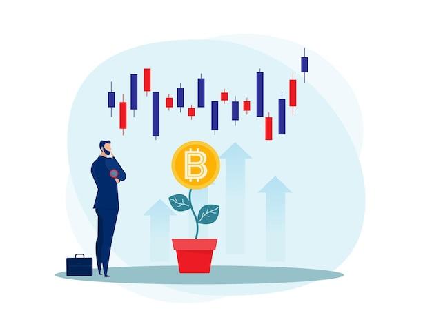 Bedrijfsstrategieanalyse aandelenmarkt met opwaartse groei van bitcoin illustratie.