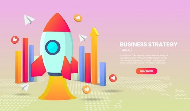 Bedrijfsstrategieconcept met raket en grafiek 3d toepassingsvector.