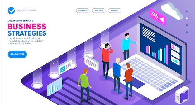 Bedrijfsstrategieën isometrisch concept van site, mensen uit het bedrijfsleven werken samen en ontwikkelen een succesvolle bedrijfsstrategie, vectorillustratie