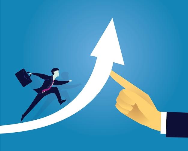 Bedrijfssucces die voorwaarts concept bewegen