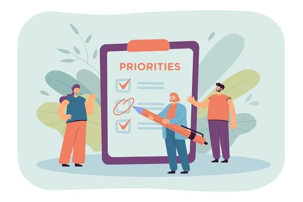 Bedrijfsteam plannen werk, takenlijst maken, samenwerken, voortgang bespreken