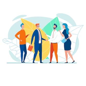 Bedrijfsteams handen schudden en feliciteren