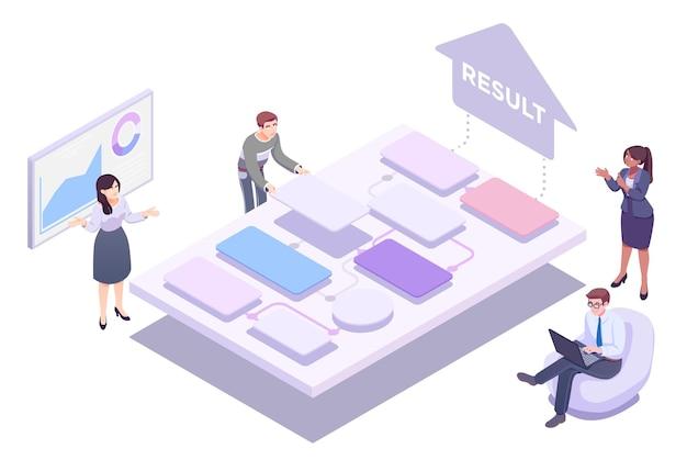 Bedrijfsteamwerk dat samenwerkt. de arbeiders zijn op weg naar succes. vectorillustratie