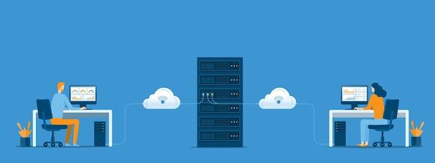 Bedrijfstechnologie cloud computing-service en datacenter opslagserver verbinden