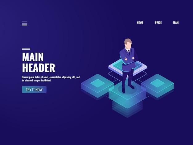 Bedrijfstechnologie, pictogram voor online bankieren, cryptocurrency, zakenman blijven op platform