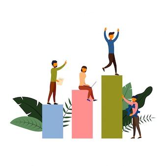 Bedrijfsverkoop de groei van mensen die concept met karakterillustratie werken