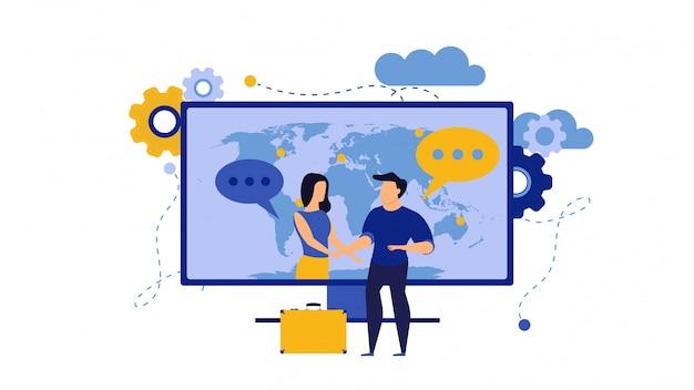 Bedrijfsvertrouwenillustratie met man en vrouw. internet computer partnerschap zakenman