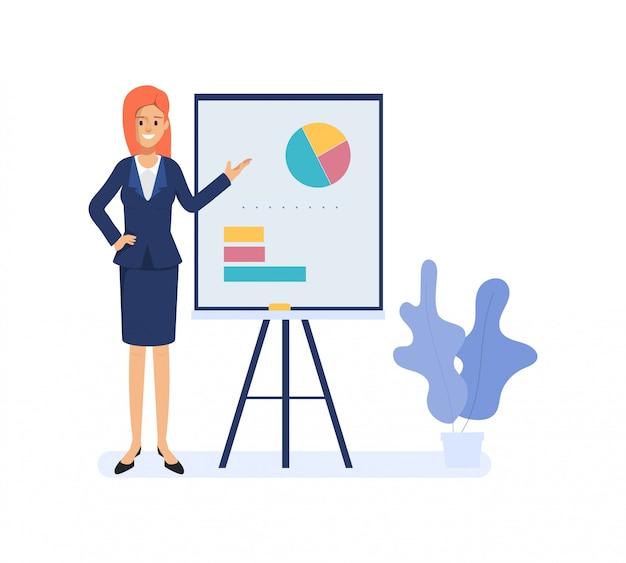 Bedrijfsvrouw die aan bedrijfsgrafiek op whiteboard voorstellen. karakter van de operatie van zakenmensen.