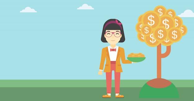Bedrijfsvrouw die dollarmuntstukken vangen.