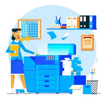Bedrijfsvrouw die exemplaarmachine of drukmachine met gestapelde stapel van dossierdocumenten met behulp van. vector illustratie.
