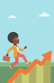 Bedrijfsvrouw die langs de de groeigrafiek lopen.