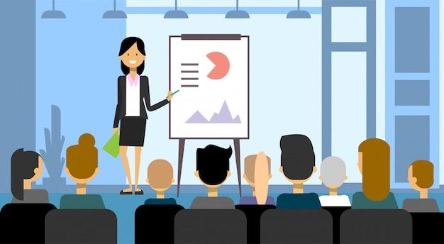 Bedrijfsvrouw die presentatie maken