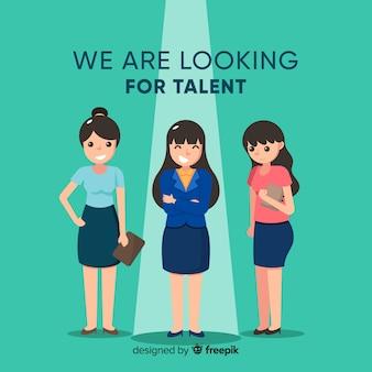Bedrijfsvrouw die talentachtergrond kijken