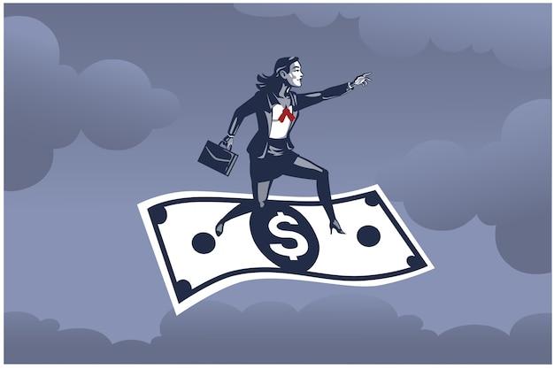 Bedrijfsvrouw die zich op vliegende dollarbiljet hoog boven het hemel bedrijfsillustratieconcept bevindt