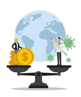 Bedrijfsvrouw en arts over een saldo. geld, coronavirus en wereld.