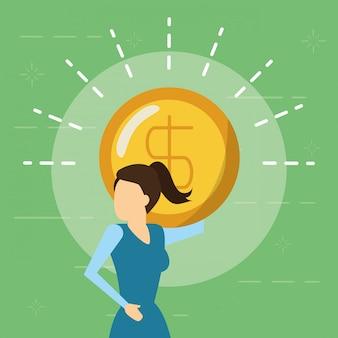 Bedrijfsvrouw en geldmuntstuk, vlakke stijl