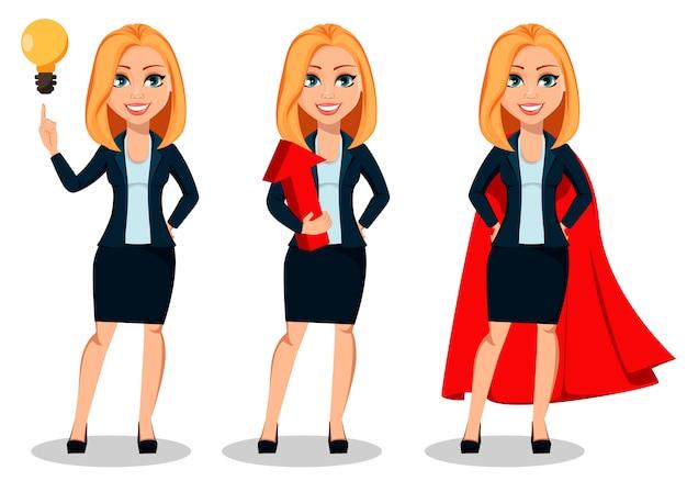 Bedrijfsvrouw in de kleren van de bureaustijl