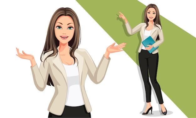 Bedrijfsvrouw in presentatieillustratie